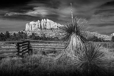 Art Print featuring the photograph Red Rock Formation In Sedona Arizona In Black And White by Randall Nyhof