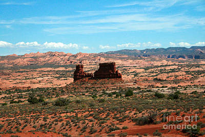 Colorful Cloud Formations Painting - Red Rock Formations Arches National Park by Corey Ford