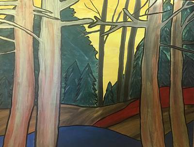 Painting - Red Rock In Woods by Paula Brown