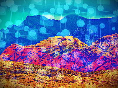 Las Vegas Artist Mixed Media - Red Rock Lights by Michelle Dallocchio