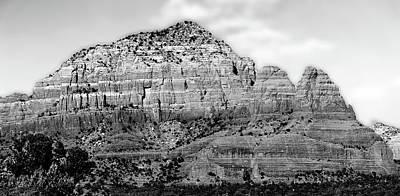 Photograph - Red Rock Loop Sedona Az Panorama 2 Bw by Mary Bedy