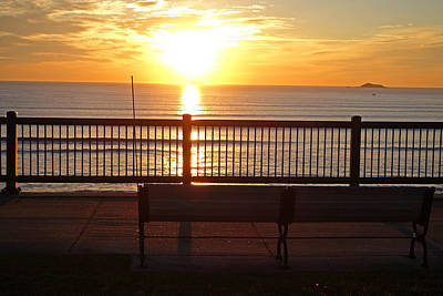 Photograph - Red Rock Park Bench At Sunrise Lynn Shore Drive by Toby McGuire
