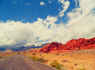 Las Vegas Artist Mixed Media - Red Rock Road by Michelle Dallocchio