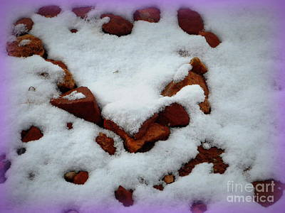 Photograph - Red Rock Snow Heart by Marlene Rose Besso