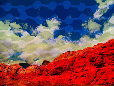 Las Vegas Artist Mixed Media - Red Rock Up Close And Personal by Michelle Dallocchio