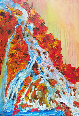 Painting - Red Rock Waterfall by Walt Brodis