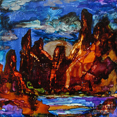 Red Rocks And Silver Moon Art Print by Jeanette Skeem