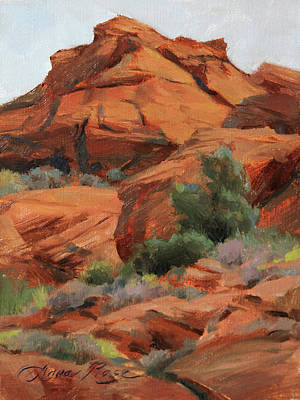 Sagebrush Painting - Red Rocks At Snow Canyon by Anna Rose Bain
