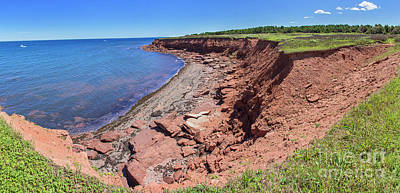 Photograph - Red Rocks On Cavendish Beach Pano, Prince Edward Island by Jason Kolenda