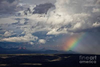 Photograph - Red Rocks Rain And Rainbow by Ron Chilston