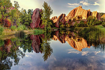 Digital Art - Red Rocks Reflection by OLena Art Brand