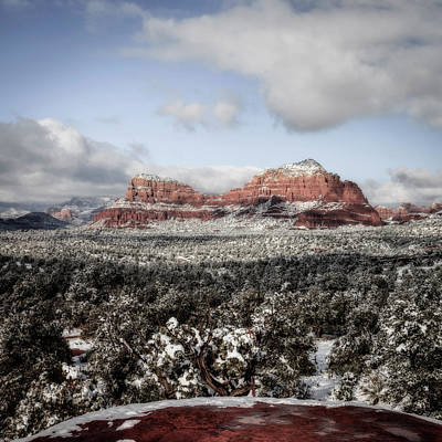 Photograph - Red Rocks Under Snow by Alexey Stiop
