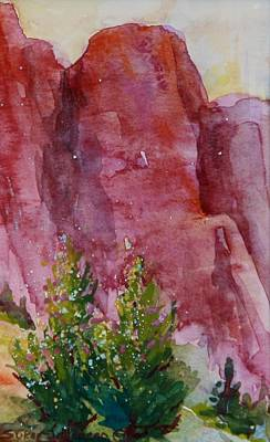 Red Rocks With Two Junipers Art Print by Sukey Watson