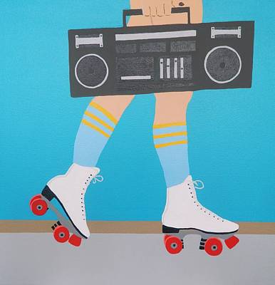 Roller Skating Painting - Red Roller With Radio by Ken Pursley