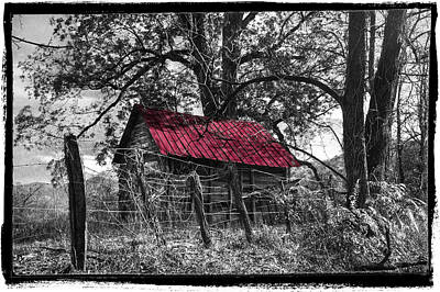 Photograph - Red Roof Black And White by Debra and Dave Vanderlaan