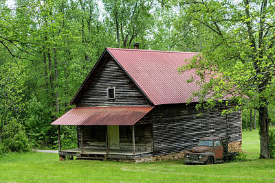 Photograph - Red Roof Cabin Georgia Mountains by Lawrence S Richardson Jr