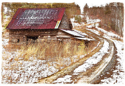 Photograph - Red Roof In The Snow Bordered by Debra and Dave Vanderlaan