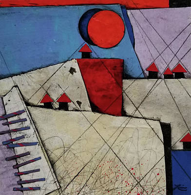 Mixed Media - Red Roof Village  by Laura Lein-Svencner
