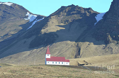 Photograph - Red Roofed Church In The Village Of Vik Iceland by DejaVu Designs
