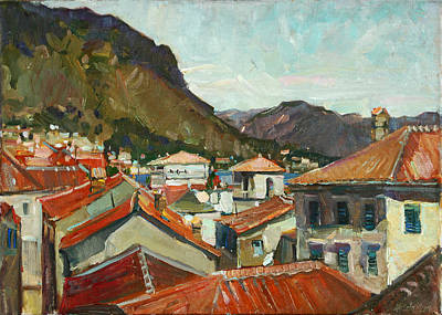 Painting - Red Roofs Of Kotor by Juliya Zhukova