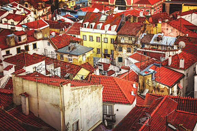 Red Rooftops Of Old Alfama Lisbon  Art Print