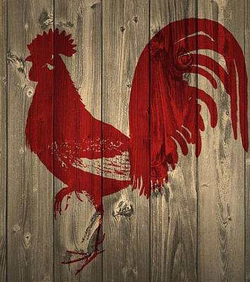 Red Rooster Barn Door Art Print by Dan Sproul