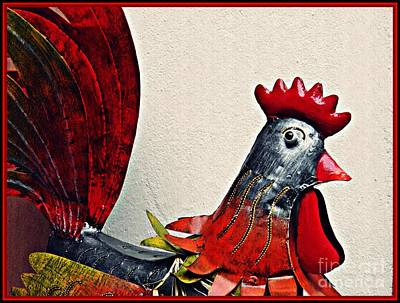 Photograph - Red Rooster In Metal by Sarah Loft