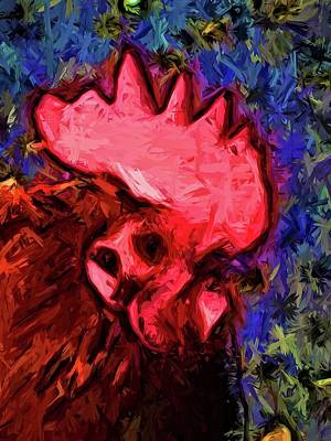 Digital Art - Red Rooster With Some Blue by Jackie VanO