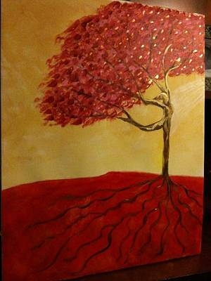 Tree Roots Painting - Red Rooted Tree Dancer by Nora Sorensen