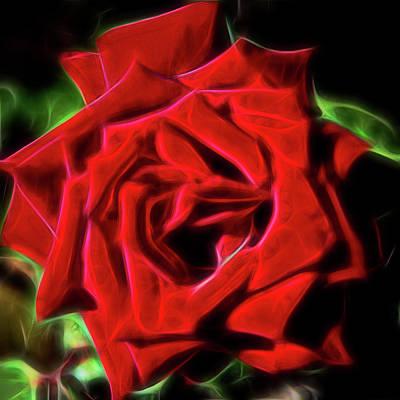 Digital Art - Red Rose 1a by Walter Herrit