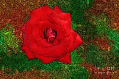 Red Rose 2 Art Print by Jean Bernard Roussilhe