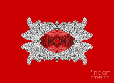 Red Rose Abstract On Digital Lace Original