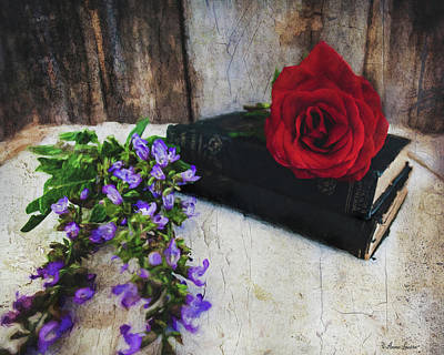 Photograph - Red Rose And Sage With Vintage Books by Anna Louise