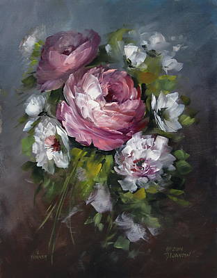 Red Rose And White Peony Art Print by David Jansen