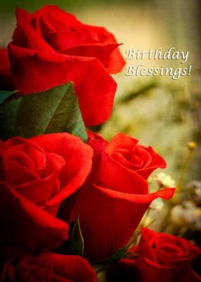 Photograph - Red Rose Birthday Greeting Card by Joni Eskridge