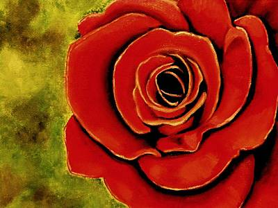 Painting - Red Rose Blooms by Victoria Rhodehouse