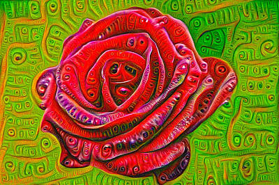 Mixed Media - Red Rose Deep Dream Surreal Picture by Matthias Hauser
