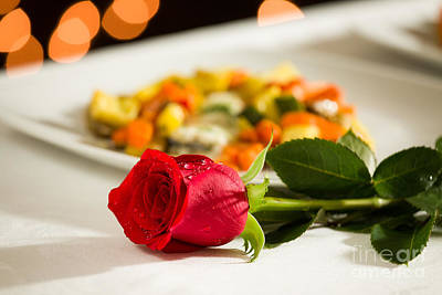 Tableware Photograph - Red Rose For Valentine's Day by Luigi Morbidelli