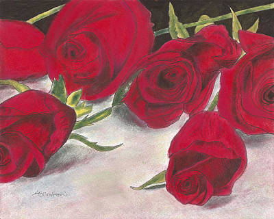 Drawing - Red Rose Redux by Arlene Crafton