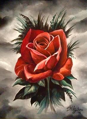 Painting - Red Rose by Art By Three Sarah Rebekah Rachel White