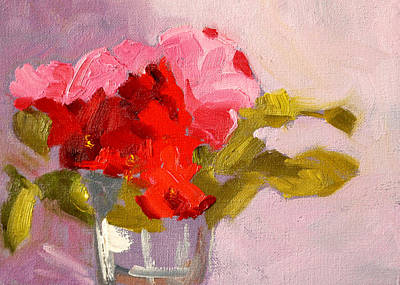 Painting - Red Rose Still Life Painting by Nancy Merkle