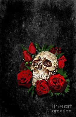 Haunted Mansion Digital Art - Red Rose Sugar Skull by Three Second