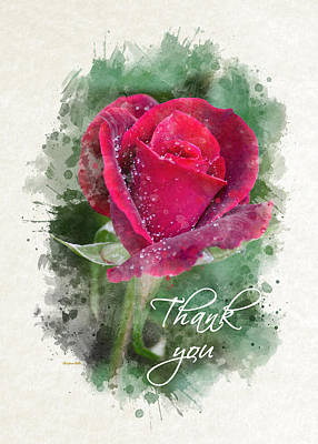 Mixed Media - Red Rose Watercolor Thank You Card by Christina Rollo