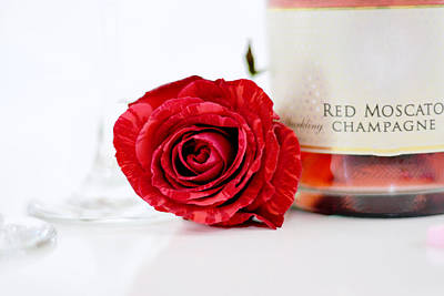Photograph - Red Rose With Champagne by Serena King