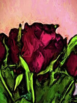Digital Art - Red Rose With Green Leaves by Jackie VanO