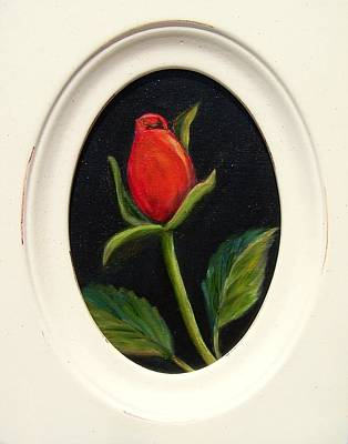 Painting - Red Rosebud   Sold by Susan Dehlinger