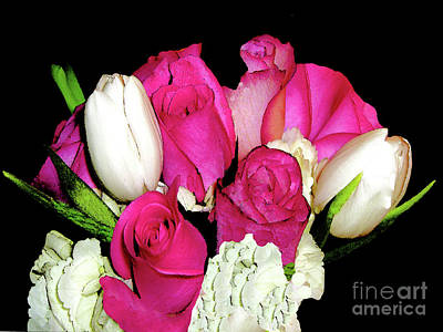 Photograph - Red Roses And White Tulips by Merton Allen