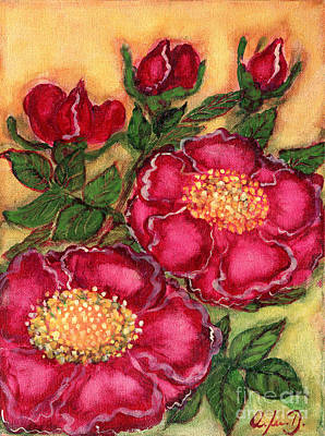Polonia Art Painting - Red Roses by Anna Folkartanna Maciejewska-Dyba