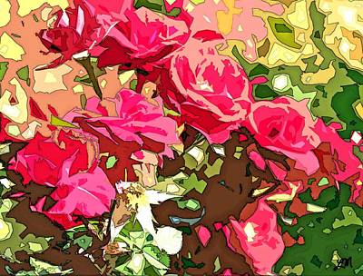 Red Flowers Painting - Red Roses Array Abstract by Linda Mears