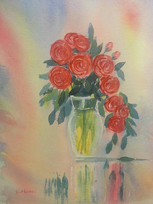 Painting - Red Roses For My Valentine by Glenn Marshall